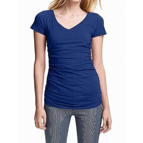 a73ad4977e8 Caslon Navy Blue Womens Size XXS Solid Shirred V-Neck Tee-Shirt Top 192