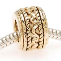 22K Gold Plated Zig Zag Braid Bead - European Style Large Hole (1)