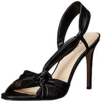 Nine West Women's Ultana Leather Heeled Sandal, Black, Size 7.5
