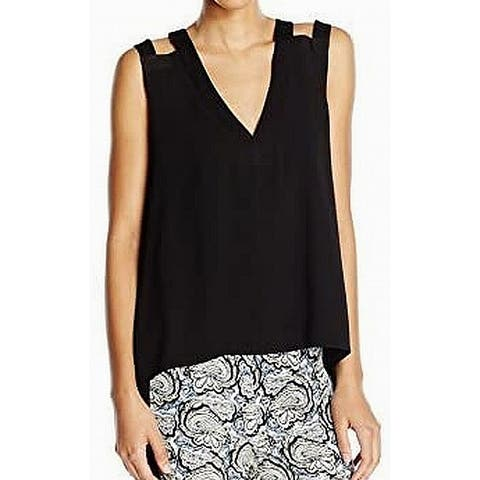 BCBG Maxazria Women's Blouse Black Size Small S Laurel Cutout Shoulder