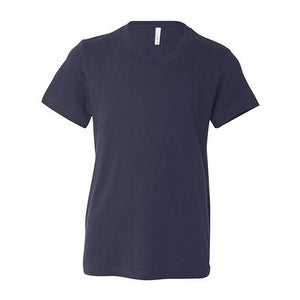 Youth Short Sleeve Crewneck Jersey Tee - Navy - M