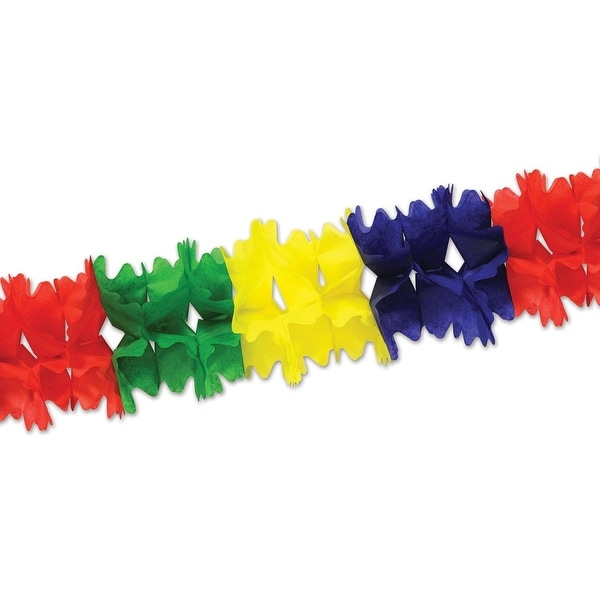 Club Pack of 12 Green, Red, Blue and Yellow Festive Pageant Garland Decorations 14.5'