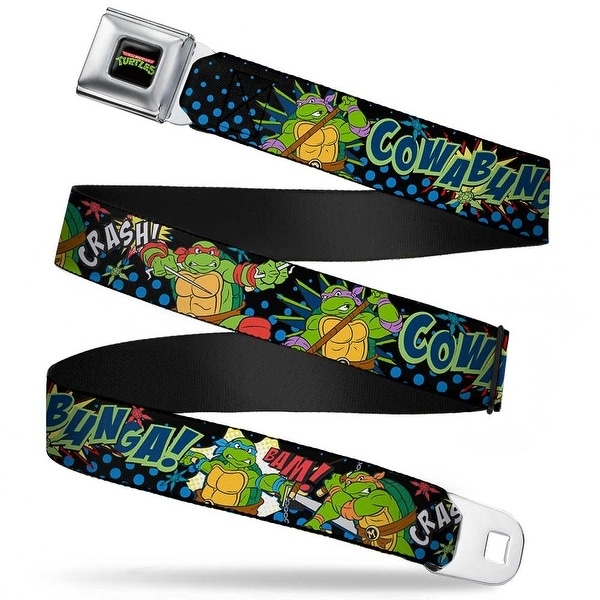 Classic Tmnt Logo Full Color Classic Tmnt Turtles Pose12 Cowabunga! Pop Art Seatbelt Belt
