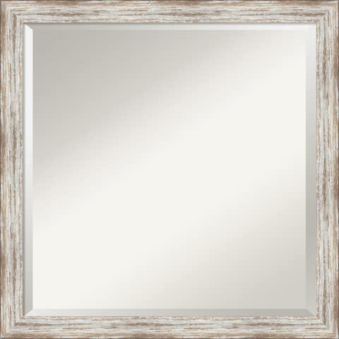 Bathroom Vanity Mirror, Distressed Cream Wood - 23 x 23-inch