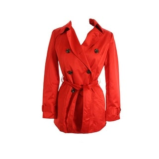 Inc International Concepts Red Double-Breasted Belted Trench Coat S