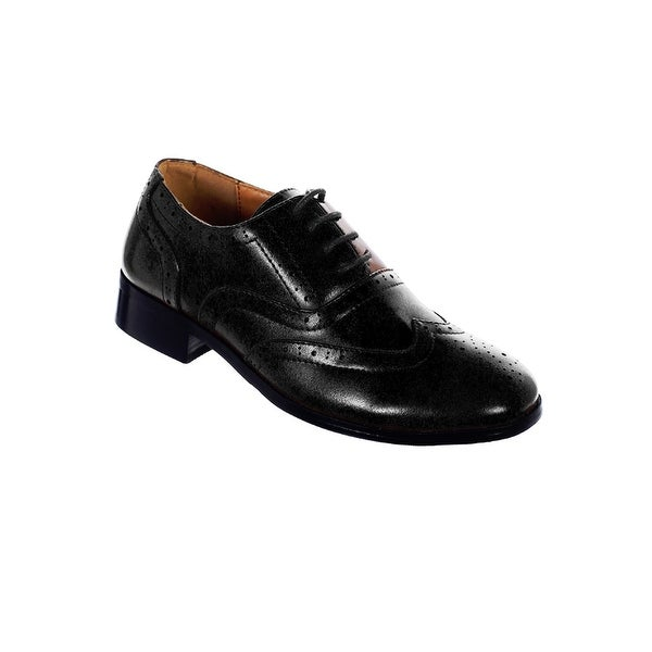 58a2e85a2b7c8 Shop Little Boys Black Wingtip Lace Up Closure Elegant Dress Shoes - Free  Shipping On Orders Over $45 - Overstock - 26521523