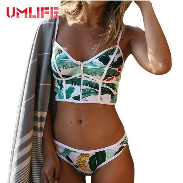 891afde3c134 Shop hot Brazilian Bikini Set Zipper Bandeau Bikinis Women 2017 Leaf  Printed Swimsuit Bathing Suit Female High Neck Swimwear Biquini - Free  Shipping Today ...