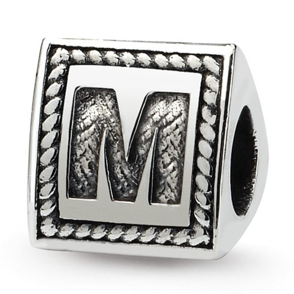 Sterling Silver Reflections Letter M Triangle Block Bead (4mm Diameter Hole)