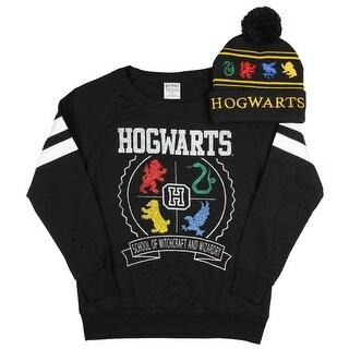 Harry Potter Hogwart Long Sleeve Black Shirt Embroidered House Animal Beanie