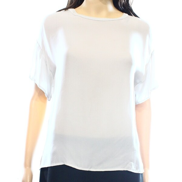 c80b7fad550efe Vince NEW Gray Women s Size Small S Short Sleeve Contrast Blouse Silk