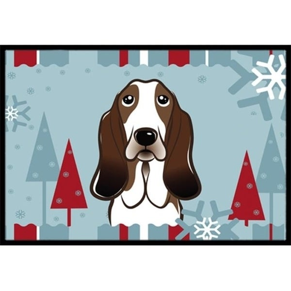 Carolines Treasures BB1739JMAT Winter Holiday Basset Hound Indoor & Outdoor Mat 24 x 36 in.