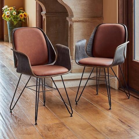 Corvus Marsala Industrial Mid-Century Accent Chair