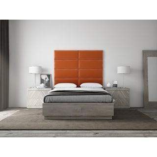 "VANT Upholstered Headboards - Accent Wall Panels - Packs Of 4 - PLUSH VELVET  Rust - 30"" Wide x 11.5"" Height"