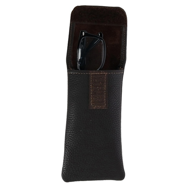 CTM/® Leather Soft Eyeglass Case with Holster Clip Black