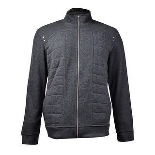 INC International Concepts Men's Verity Quilted Jacket (Charcoal Heather, L) - L