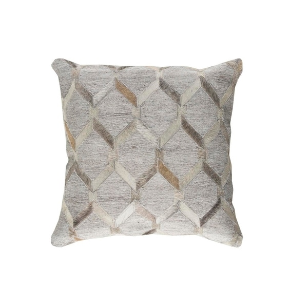 "20"" Gray and Eggshell White Rustic Animal Patterned Decorative Throw Pillow-Down Filler"