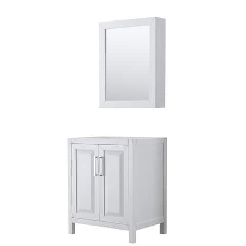 Daria 30-inch Single Vanity, No Top, Medicine Cabinet