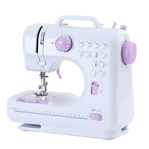 Portable Mini Sewing Machine 12 Stitches 2 Speeds Double Thread Overlock Quick Sewing Machine Household Sewing