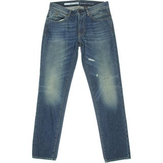 DKNY Jeans Mens Bleecker Distressed Low Rise Straight Leg Jeans