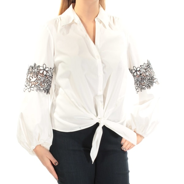 2006fab558f Shop Womens White Long Sleeve Collared Casual Blouse Top Size XXL - On Sale  - Free Shipping On Orders Over  45 - Overstock.com - 21385642