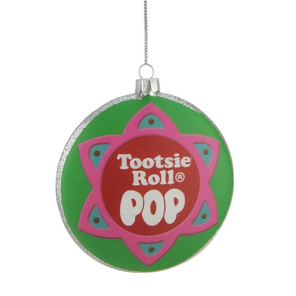 "4"" Candy Lane ""Tootsie Roll POP"" Original Candy-Filled Lollipop Christmas Disc Ornament"