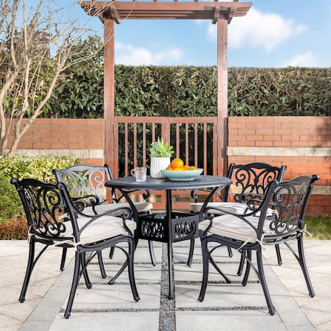 5 Piece Cast Aluminium Olefin Cushions Outdoor Dining Set by Elm Plus