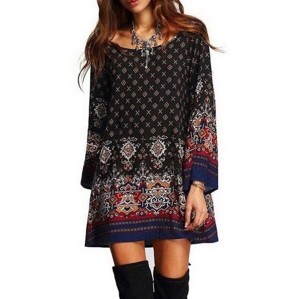 67fee0acf8 Lasperal Boho Style Long Sleeve Dress Women O-Neck Batwing Sleeve Mini Dresses  Summer 5Xl