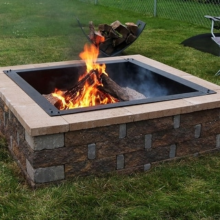 Sunnydaze Square Heavy-Duty Fire Pit Rim Liner - 30-Inch Square Inside Dimension