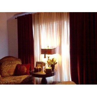 Exclusive Fabrics Burgundy Velvet Blackout Extra Wide Curtain Panel
