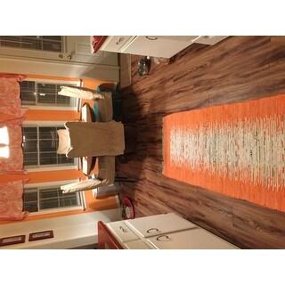 Safavieh Hand-woven Montauk Ivory/ Orange Cotton Rug (2'3 x 9')