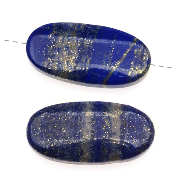 Lapis Lazuli Grade A Long Oval Gemstone Beads 14.5x30mm (2)
