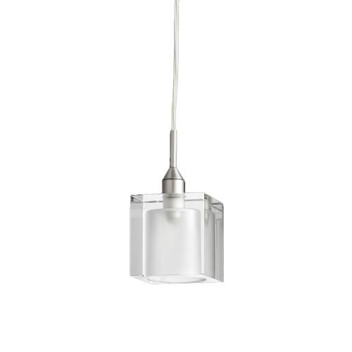Quorum International 1361 1 Light Mini Pendant with Glass Square Shade - satin nickel
