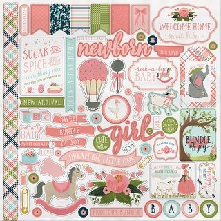 "Rock-A-Bye Baby Girl Cardstock Stickers 12""X12""-"
