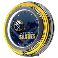NHL Chrome Double Rung Neon Clock - Watermark - Buffalo Sabres