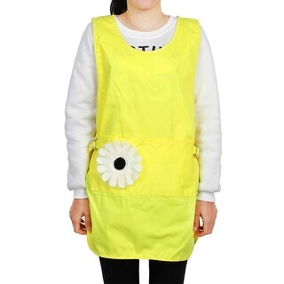 Restaurant Polyester Flower Decor Cooking Cleaning Apron Bib Dress Yellow