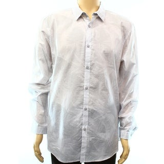 INC NEW Light Gray Mens Size XL Woven Button Down Stripe Floral Shirt