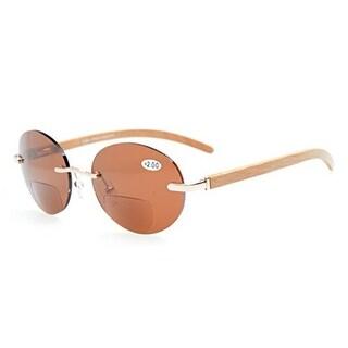 Eyekepper Spring Hinges Rimless Round Bifocal Sunglasses Gold/Brown Lens +3.0