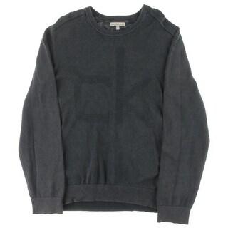 Calvin Klein Jeans Mens Crewneck Sweater Acid Logo Textured-Knit