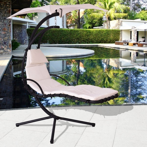 Costway Beige Hanging Chaise Lounge Chair Arc Stand Air Porch Swing Hammock Chair Canopy