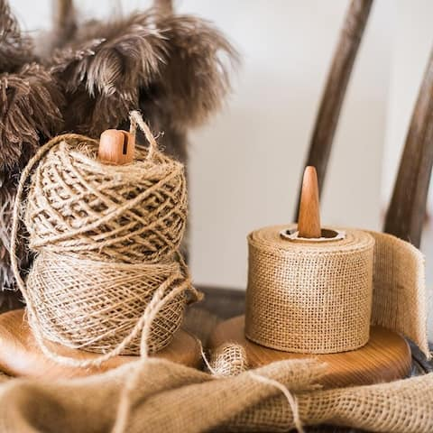 RusticReach Rustic Burlap Roll and Twine String Set of 3
