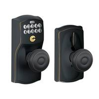 Schlage FE595-CAM-GEO Camelot Keypad Entry with Flex-Lock Door Knob Set with Georgian Interior Knob