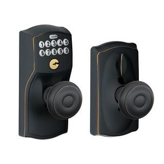 Schlage FE595-CAM-GEO Camelot Keypad Entry with Flex-Lock Door Knob Set with Georgian Interior Knob