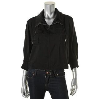 Lauren Ralph Lauren Womens Petites Basic Jacket Ribbed Trim Long Sleeves
