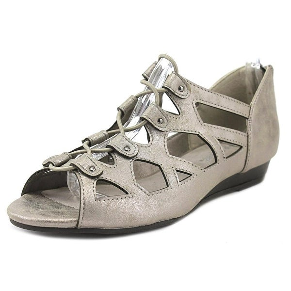 Easy Street Savvy Women Open Toe Leather Silver Sandals
