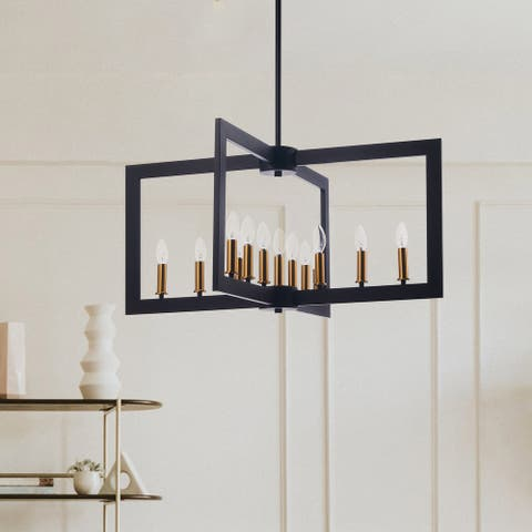 CO-Z 13-Light Candle Style Geometric Chandelier, Metal Open Frame - Black
