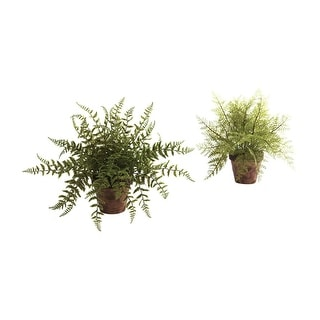 Nearly Natural Fern with Decorative Planter - Set of 2