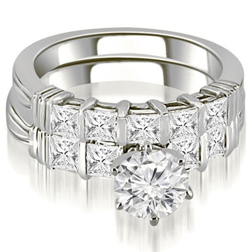 2.30 cttw. 14K White Gold Bar Set Round & Princess Cut Diamond Bridal Set