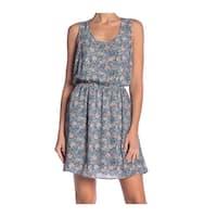 DR2 Blue Women's Size XS Printed Blouson Scoop Neck Sheath Dress