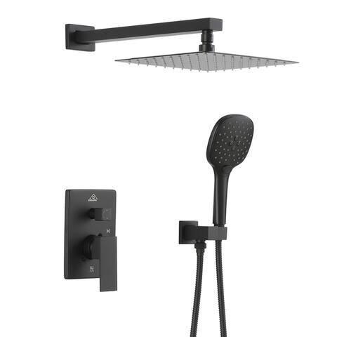 ExBrite Shower Faucet Matte Black 10 inch Luxury Rain Mixer Shower Combo Set Wall Mounted Rain Shower Head System