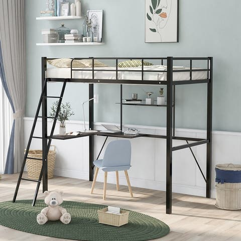 Metal Twin Loft Bed with Desk and Shelf, Twin Size High Loft Bed
